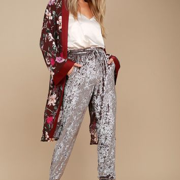 Light Beams Taupe Velvet Jogger Pants