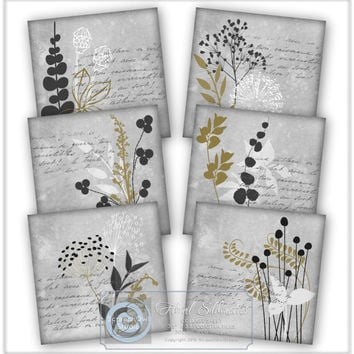 Digital Collage Sheet - Floral Silhouettes 2 : Coaster Tiles, Printable Images, Decoupage, Card Making, Fabric Transfer, Paper Craft Suppies