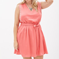 FOREVER 21 PLUS Embroidered Fit & Flare Dress Coral/Taupe