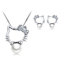 Hello Kitty Pearl Necklace Earrings Set