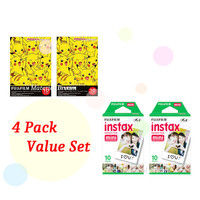 Instax Film 2 Double Package Value Set Fujifilm Instax Mini Film White Plus Pokemon Pikachu Polaroid Instant Photos 40 Shots