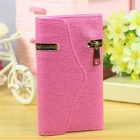 Leather Case Card Holder Wallet and Stylus Pen for Galaxy S3 I9300 with cell phone strap-Pink