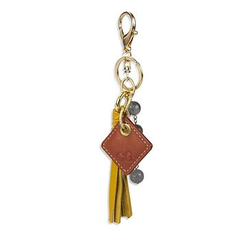 Lucca Leather Bag Charm- Yellow