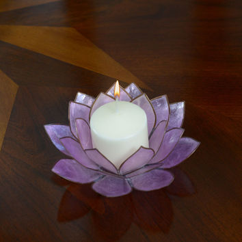 Lotus Flower Candle Holder With Jewel Encrusted Case - Purple