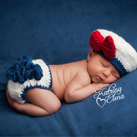 Newborn Sailor Girl Photo Prop/Sailor Prop/Nautical Newborn Prop/ Newborn Photo Prop/ Ruffle Diaper Cover