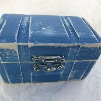 Beachy Coastal Nautical Blue Rustic Wedding Ring BOx Gift Box Trinket Box Weddin