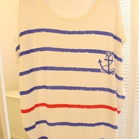 Leisure Loose Fitting Navy Style Anchor Strip Print T-shi