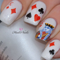 Nail Art Water Transfers Decals Wraps Playing Cards King of Hearts YD078