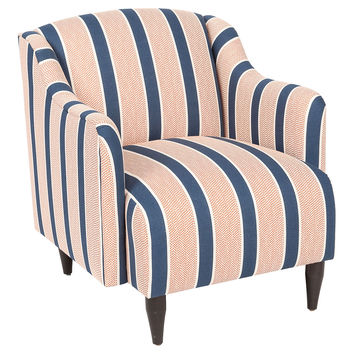 Logan Striped Chair, Navy/Coral, Club Chairs