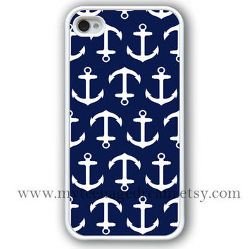 iPhone 4 Case, iphone 4s case, Nautical Anchor iphone 4 case, navy blue anchor iphone 4 case, white iphone 4 case