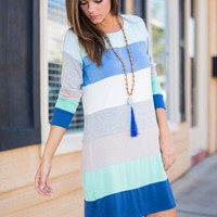 Building Color Blocks Dress, Blue