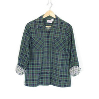 Vintage Womens Flannel Shirt -- Forest Green & Navy Blue Plaid Flannel -- 1970s / 80s -- Long Sleeve Button Down -- Soft Thin Flannel -- S