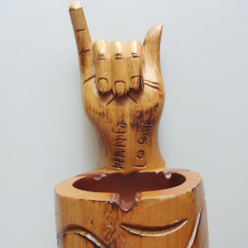 Vintage Hang Loose Wooden Ashtray 1970s