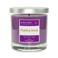 Soy Candle - Purple Haze Scented – 8 oz Rock Glass Jar Candle with a Brushed Metal Lid - Inspired by Jimi Hendrix