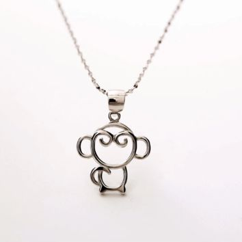 The new 925 sterling silver (nifty monkey pendant) silver ornament necklace