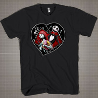 Jack and Sally in Love  Mens and Women T-Shirt Available Color Black And White