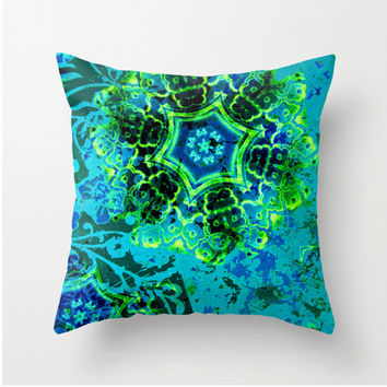 Decorative Square Throw Pillow - Abstract Blue Green Yellow fractal design - apophysis fractals - home decor - dorm decor - office decor