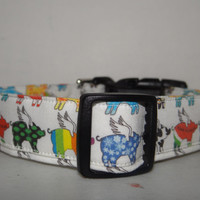 Dog Collar *When Pigs Fly *  Fabric - Adjustable buckle collar OR Martingale Collar