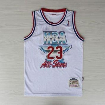 UCANUJ3V NWT #23 NBA Chicago Bulls 23 Michael Jordan White All Star Jersey Men