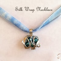 Good Luck Elephant Silk Wrap Necklace, Lucky Elephant