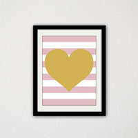"Gold Heart with Pink Stripes. Nursery. Baby Girl. Baby Shower. Minimalist. Gold and Pink. Art. Kids Bedroom. 8.5x11"" Print."