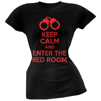 Valentine's Day - Keep Calm 50 Shades Red Room Black Juniors T-Shirt