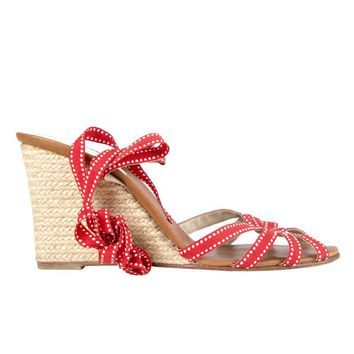 41227 auth CHRISTIAN LOUBOUTIN red canvas & raffia Wedge Sandals Shoes 38