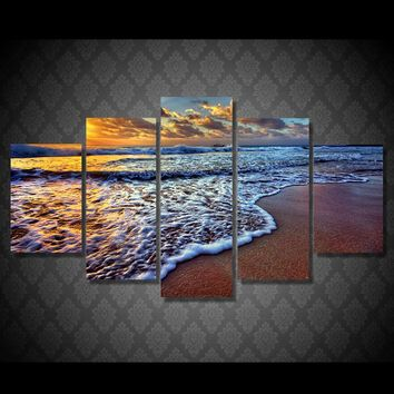 5 piece canvas wall art Seascape Beach Ocean Gulf at Sunset