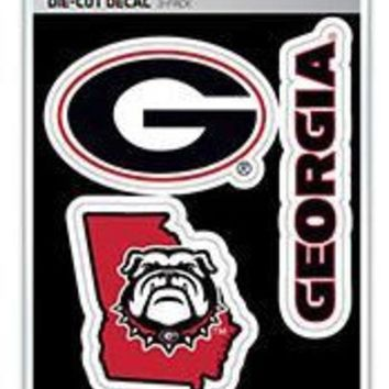 DCCKG8Q NCAA Georgia Bulldogs Die-Cut Decal 3-Pack