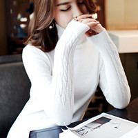 Autumn Winter Women Sweaters And Pullovers Fashion Long Sleeve Turtleneck Knitted Pullover Women