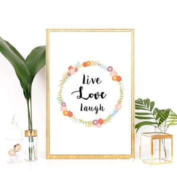 "Nursery art / decor - Canvas painting / Poster print - Free Shipping - Wreath brush script quote ""Live Love Laugh"""