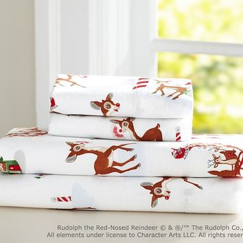 Rudolph the Red-Nosed Reindeer® Flannel Sheet Set | Pottery Barn Kids
