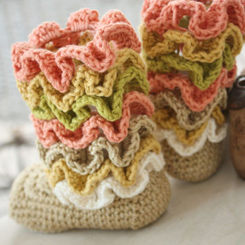 Crochet Baby Booties PATTERN, Tall 'Gracie' Ruffle Boots Baby Girl Shoes Slippers