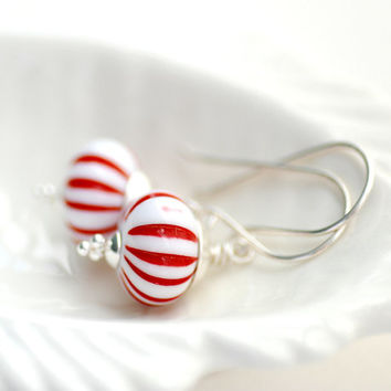 Red and White Earrings, Christmas Jewelry, Peppermint Earrings, Striped Earrings, Stripes, Lucite Jewelry, Candy Cane, Sterling Silver