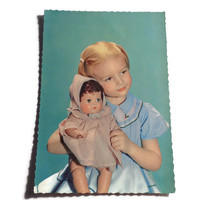 Vintage Children's 1960's Postcard . Retro Photo Postcard 60s . Little Girl With Her Doll.