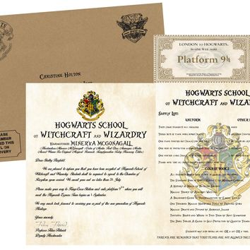 Personalized Harry Potter Acceptance Letter - with Kraft Envelope, Supply List and Train Ticket - Hogwarts School of Witchcraft and Wizardry - Headmistress Minerva McGonagall