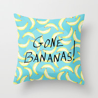 Gone Bananas! Throw Pillow by Lisa Argyropoulos