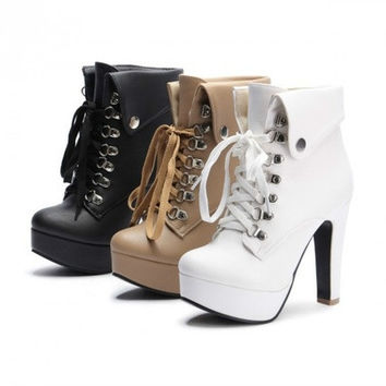 Women Fashion Ankle Boots Platform Pumps Lace Up Martin Boots [8238488711]
