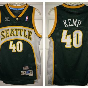 Sale!! Vintage Adidas SEATTLE SuperSonics Basketball Jersey NBA Shirt #40 Shawn Kemp
