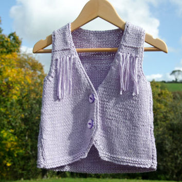 Hand Knitted Waistcoat Lilac Cardigan - Fits 2 year old Girl - Handcrafted