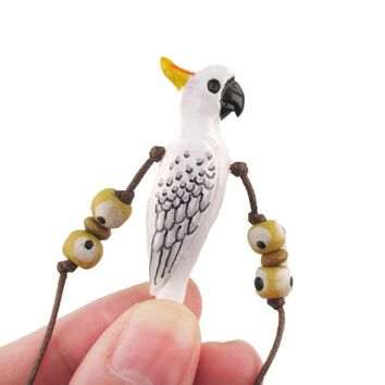 Handmade Cockatoo Parrot Bird Shaped Hand Painted Whistle Pendant Necklace | DOTOLY