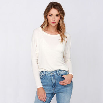 White Long-Sleeve Cutout-Back Tee