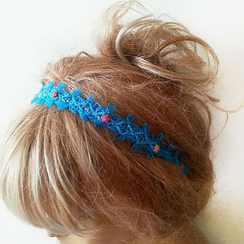 Womens Headband, Spring Blue Flowers Headband, Tiara Crown, Wedding Tiara, Flower Girl Headband, Prom Headband, Hair Accessory