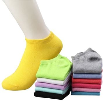 Streetstyle  Casual 20pcs=10pairs/lot women cotton socks summer cute candy color boat socks ankle socks for woman thin sock slippers s04