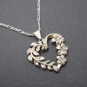 Sterling Heart Pendant Necklace Floral Leaf