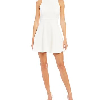 Honey and Rosie Mock Neck Open-Back Textured Knit Fit-and-Flare Dress | Dillards