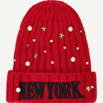 Christmas Embroidered Letter Faux Pearl Decorated Beanie Hat