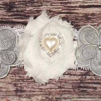 Silver Lace Flower, Shabby and Rhinestone Lace Baby Girl Headband!
