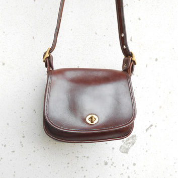 Vintage Leather Bag COACH No.CJD - 9965 Brown Leather Purse Leather Crossbody Bag / Small