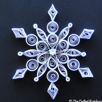 Quilled Snowflake - Handmade Christmas Ornament in White